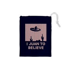 I Juan To Believe Ugly Holiday Christmas Blue Background Drawstring Pouches (Small)
