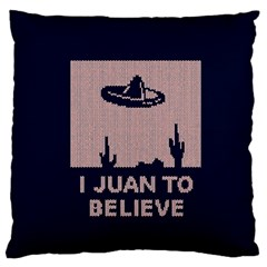 I Juan To Believe Ugly Holiday Christmas Blue Background Standard Flano Cushion Case (Two Sides)