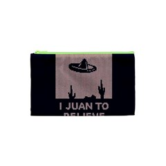 I Juan To Believe Ugly Holiday Christmas Blue Background Cosmetic Bag (XS)
