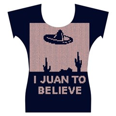 I Juan To Believe Ugly Holiday Christmas Blue Background Women s Cap Sleeve Top