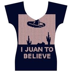 I Juan To Believe Ugly Holiday Christmas Blue Background Women s V-Neck Cap Sleeve Top