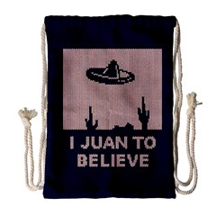 I Juan To Believe Ugly Holiday Christmas Blue Background Drawstring Bag (Large)