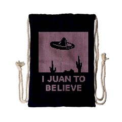 I Juan To Believe Ugly Holiday Christmas Blue Background Drawstring Bag (Small)