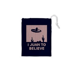 I Juan To Believe Ugly Holiday Christmas Blue Background Drawstring Pouches (XS)