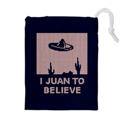 I Juan To Believe Ugly Holiday Christmas Blue Background Drawstring Pouches (Extra Large)