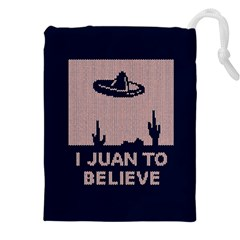 I Juan To Believe Ugly Holiday Christmas Blue Background Drawstring Pouches (XXL)