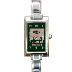 I Juan To Believe Ugly Holiday Christmas Green background Rectangle Italian Charm Watch