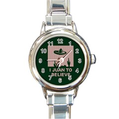 I Juan To Believe Ugly Holiday Christmas Green background Round Italian Charm Watch