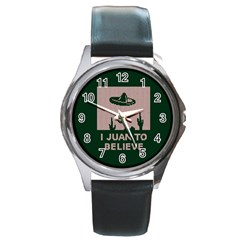 I Juan To Believe Ugly Holiday Christmas Green background Round Metal Watch