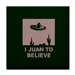 I Juan To Believe Ugly Holiday Christmas Green background Tile Coasters