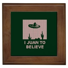 I Juan To Believe Ugly Holiday Christmas Green background Framed Tiles
