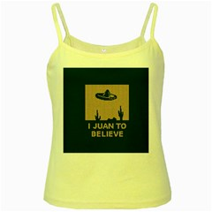 I Juan To Believe Ugly Holiday Christmas Green background Yellow Spaghetti Tank