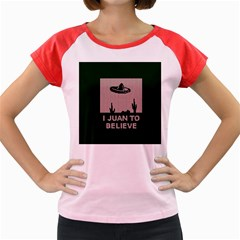 I Juan To Believe Ugly Holiday Christmas Green background Women s Cap Sleeve T-Shirt