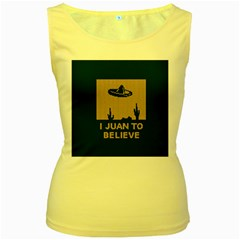 I Juan To Believe Ugly Holiday Christmas Green background Women s Yellow Tank Top
