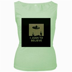 I Juan To Believe Ugly Holiday Christmas Green background Women s Green Tank Top