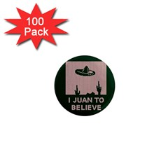 I Juan To Believe Ugly Holiday Christmas Green background 1  Mini Magnets (100 pack)
