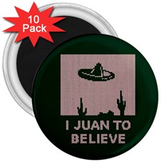 I Juan To Believe Ugly Holiday Christmas Green background 3  Magnets (10 pack)
