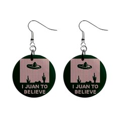 I Juan To Believe Ugly Holiday Christmas Green Background Mini Button Earrings