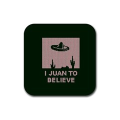 I Juan To Believe Ugly Holiday Christmas Green background Rubber Square Coaster (4 pack)