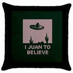 I Juan To Believe Ugly Holiday Christmas Green background Throw Pillow Case (Black)