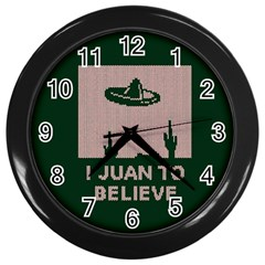 I Juan To Believe Ugly Holiday Christmas Green background Wall Clocks (Black)