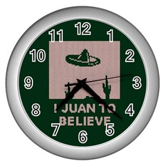 I Juan To Believe Ugly Holiday Christmas Green background Wall Clocks (Silver)
