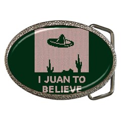 I Juan To Believe Ugly Holiday Christmas Green Background Belt Buckles
