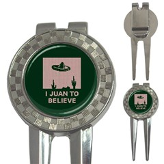 I Juan To Believe Ugly Holiday Christmas Green background 3-in-1 Golf Divots