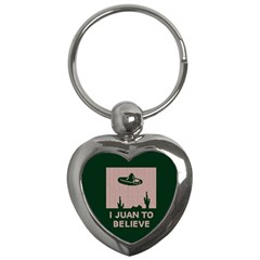 I Juan To Believe Ugly Holiday Christmas Green background Key Chains (Heart)
