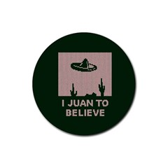 I Juan To Believe Ugly Holiday Christmas Green background Rubber Round Coaster (4 pack)