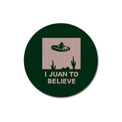I Juan To Believe Ugly Holiday Christmas Green background Magnet 3  (Round)