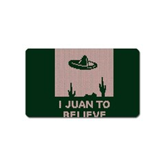 I Juan To Believe Ugly Holiday Christmas Green background Magnet (Name Card)