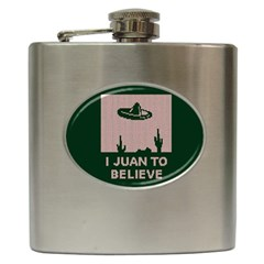 I Juan To Believe Ugly Holiday Christmas Green background Hip Flask (6 oz)