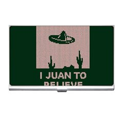 I Juan To Believe Ugly Holiday Christmas Green background Business Card Holders
