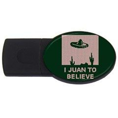 I Juan To Believe Ugly Holiday Christmas Green background USB Flash Drive Oval (2 GB)