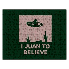 I Juan To Believe Ugly Holiday Christmas Green background Rectangular Jigsaw Puzzl