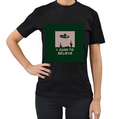 I Juan To Believe Ugly Holiday Christmas Green background Women s T-Shirt (Black) (Two Sided)
