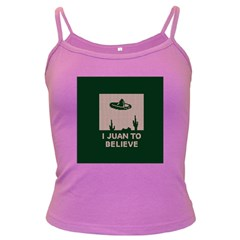 I Juan To Believe Ugly Holiday Christmas Green background Dark Spaghetti Tank
