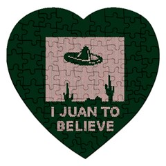 I Juan To Believe Ugly Holiday Christmas Green background Jigsaw Puzzle (Heart)