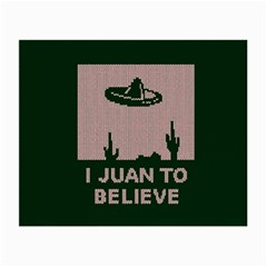 I Juan To Believe Ugly Holiday Christmas Green background Small Glasses Cloth
