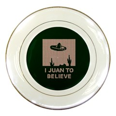 I Juan To Believe Ugly Holiday Christmas Green background Porcelain Plates