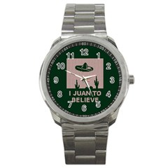 I Juan To Believe Ugly Holiday Christmas Green background Sport Metal Watch