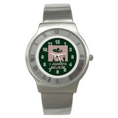 I Juan To Believe Ugly Holiday Christmas Green background Stainless Steel Watch