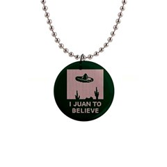 I Juan To Believe Ugly Holiday Christmas Green background Button Necklaces