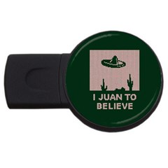 I Juan To Believe Ugly Holiday Christmas Green background USB Flash Drive Round (4 GB)