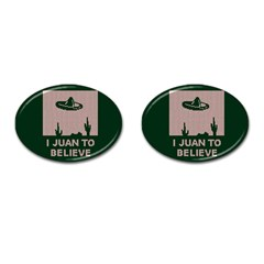 I Juan To Believe Ugly Holiday Christmas Green background Cufflinks (Oval)
