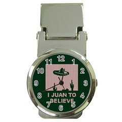 I Juan To Believe Ugly Holiday Christmas Green background Money Clip Watches