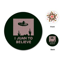 I Juan To Believe Ugly Holiday Christmas Green background Playing Cards (Round)