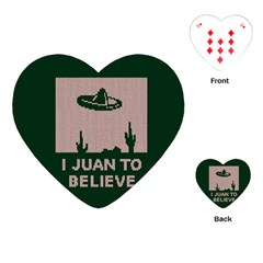 I Juan To Believe Ugly Holiday Christmas Green background Playing Cards (Heart)