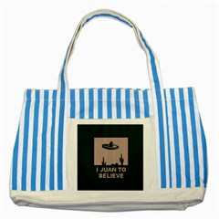 I Juan To Believe Ugly Holiday Christmas Green background Striped Blue Tote Bag